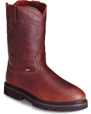Justin Premium Pull-On Work Boots - Steel Toe, Tan, hi-res