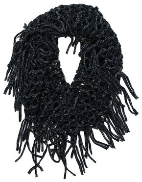 Shyanne Women's Black Fringe Eternity Scarf, Black, hi-res
