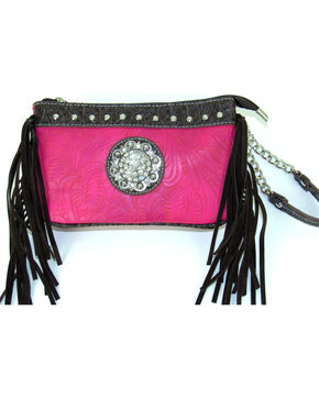 Savana Women's Pink Tooled Crossbody/Wristlet with Fringe, Pink, hi-res