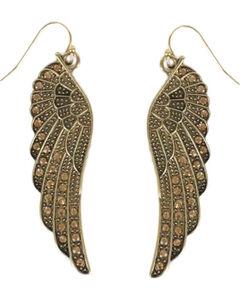 Shyanne Women's Rhinestone Wing Hook Earrings, Gold, hi-res