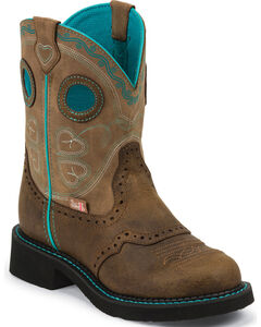 Justin Gypsy Brown Light Blue Accents Cowgirl Boots - Round Toe, , hi-res