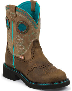 "Justin Brown Gypsy Light Blue Accents 8"" Cowgirl Boots - Round Toe, Tan, hi-res"