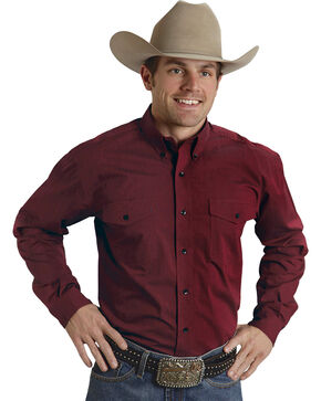 Roper Amarillo Collection Red Western Shirt, Red, hi-res