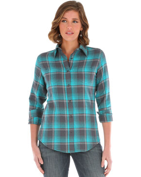Wrangler Women's Turquoise As Real As Plaid Top , Turquoise, hi-res