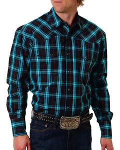 Roper Men's Black Plaid Long Sleeve Shirt, , hi-res