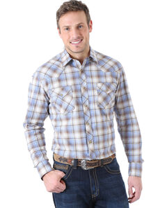Wrangler Men's 20X Advanced Comfort Brown and Blue Plaid Western Shirt , , hi-res