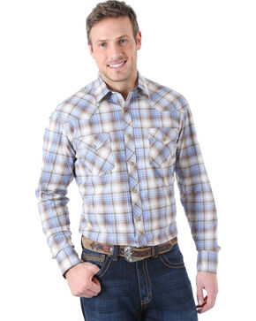 Wrangler Men's 20X Advanced Comfort Brown and Blue Plaid Western Shirt , Brn Plaid, hi-res