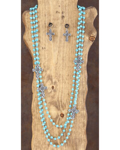 West & Co. 3-Strand Turquoise & Silver Cross Necklace & Earrings Set, , hi-res
