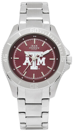 Jack Mason Women's Texas A&M Team Color Dial Sport Bracelet Watch , Silver, hi-res