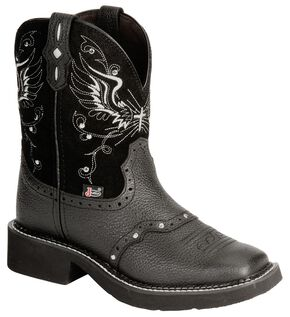 Justin Black Wing Stitched Gypsy Boots - Square Toe, Black, hi-res