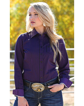 Cinch Women's Yarn Dyed Stripe Plain Weave Button Down Shirt, Multi, hi-res