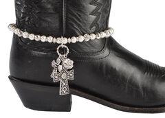 Blazin Roxx Faux Pearl Beaded Cross Charm Boot Bracelet, , hi-res