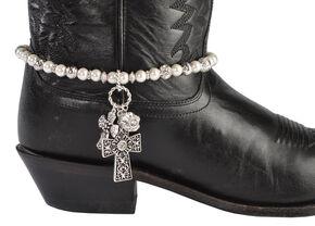 Blazin Roxx Faux Pearl Beaded Cross Charm Boot Bracelet, White, hi-res