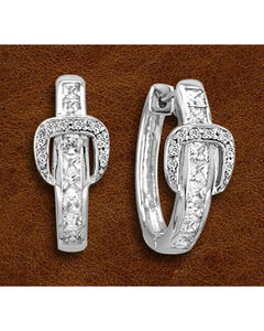 Kelly Herd Sterling Silver Rhinestone Buckle Earrings, , hi-res