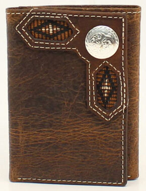 Nocona Ribbon Inlay Round Concho Tri-Fold Wallet, Med Brown, hi-res