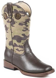 Roper Boys' Camo Cowboy Boots - Square Toe, , hi-res