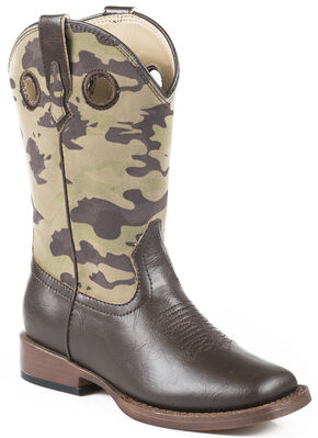 Roper Boys' Camo Cowboy Boots - Square Toe, Brown, hi-res