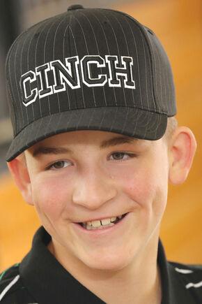 Cinch Boy's Black Logo Pinstripe Cap, Black, hi-res