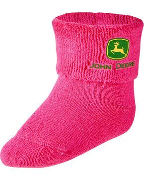John Deere Newborn Baby's Booties, Pink, hi-res