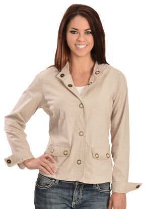 Tantrums Women's Crochet Snap Cotton Jacket, Stone, hi-res