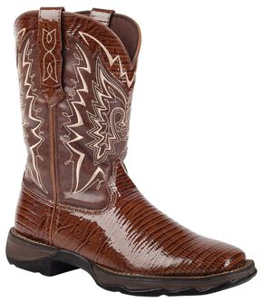 Durango Lady Rebel Snake Print Cowgirl Boots - Square Toe, Chocolate, hi-res