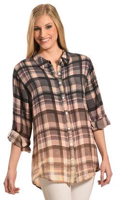 Boho Jane Women's Woodstock Ombre Plaid Shirt, , hi-res