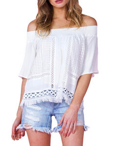 Miss Me Women's Ivory Crochet Off Shoulder Top , , hi-res