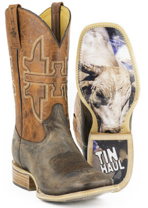 Tin Haul Men's Go Balls Out Cowboy Boots - Square Toe, Brown, hi-res
