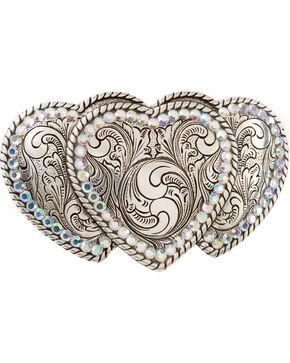 Triple Heart Buckle, Silver, hi-res
