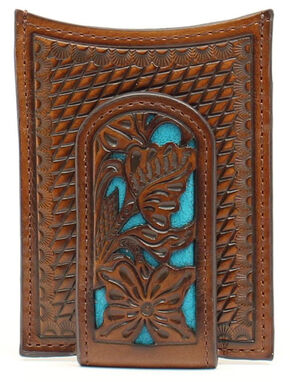 Nocona Floral Overlay Money Clip, Blue, hi-res