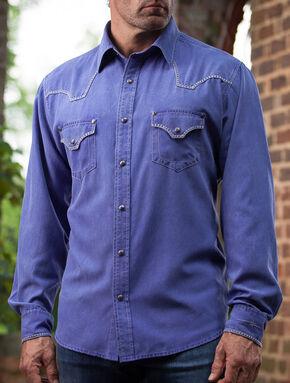 Ryan Michael Men's Blue Cobalt Western Shirt, Blue, hi-res
