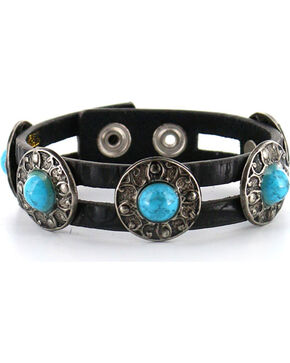 Shyanne Women's Leather Concho Bracelet, Black, hi-res