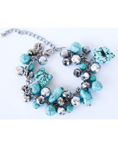 West & Co. Women's Burnished Silver Turquoise Bead Chain Bracelet, , hi-res