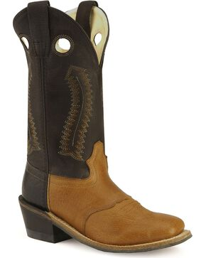 Old West Boys' Buckaroo Cowboy Boots - Square Toe, Tan, hi-res
