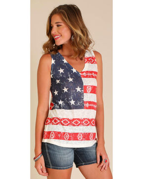Wrangler Women's Sleeveless All Over Americana Top, Ivory, hi-res