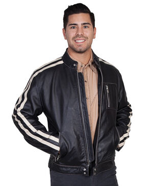 Scully Sanded Calf Racing Jacket, Charcoal Grey, hi-res