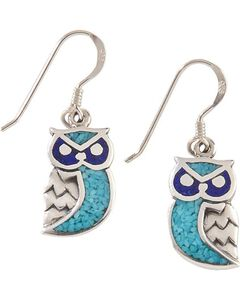 Silver Legends Sterling Silver & Turquoise Owl Earrings, , hi-res