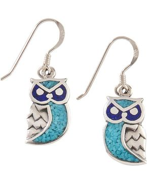 Silver Legends Sterling Silver & Turquoise Owl Earrings, Silver, hi-res