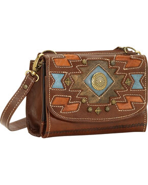 American West Zuni Passage Small Crossbody Bag/Wallet, Chestnut, hi-res
