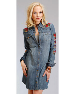 Stetson Women's Embroidered Denim Shirt Dress, Indigo, hi-res