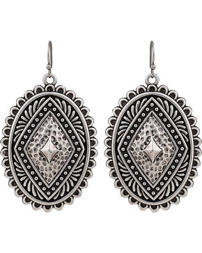 Rock 47 by Montana Silversmiths Antique Silver Concho Earrings, Antique Silver, hi-res