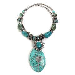 Treska Women's Mykonos Beaded Pendant Coil Necklace , , hi-res