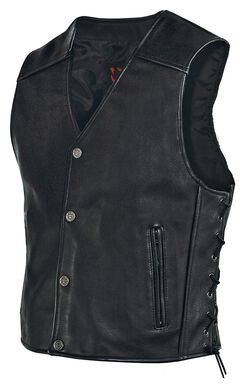 Milwaukee Motorcycle Side Lace Leather Vest, , hi-res