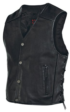 Milwaukee Motorcycle Side Lace Leather Vest, Black, hi-res