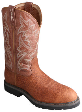 Twisted X Men's Cowboy Work Pull-On Boots - Steel Toe , Brown, hi-res