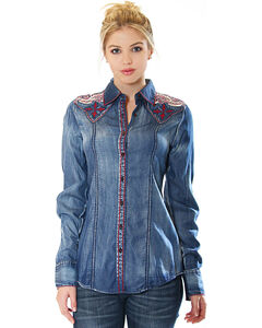 Grace in LA Women's Denim Button Down Shirt with Embroiderey, , hi-res