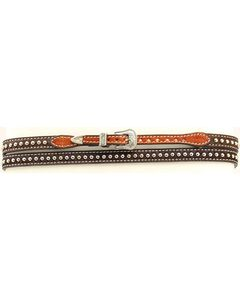 Brown Hair-on-Hide Studded Hat Band, , hi-res