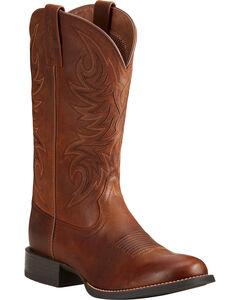 Ariat Men's Sport Horseman Brown Cowboy Boots - Round Toe, , hi-res