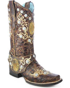 Corral Concho Harness Cowgirl Boots - Square Toe, Brown, hi-res