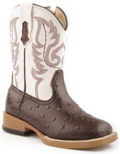 Roper Toddler Girls' Faux Ostrich Cowboy Boots - Square Toe, , hi-res